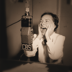 Agnes Moorehead at microphone