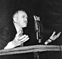 H.V. Kaltenborn at the microphone